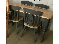 Solid chunky pine farmhouse/rustic table & 4x chairs up-cycled