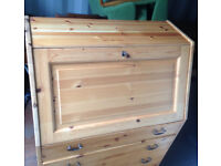 office desk secretary in real pine wood with drawers come with key