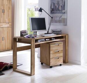 schreibtisch rollcontainer computertisch 135x60 b ro m bel massiv holz kernbuche ebay. Black Bedroom Furniture Sets. Home Design Ideas