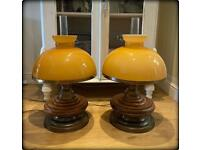 Pair of Beautiful Vintage Brass & Oak Hurricane Style Table Lamps With Glass Shades