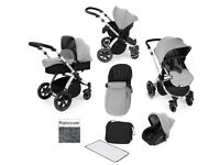ickle bubba travel system pram with car seat, carrycot, buggy and extras