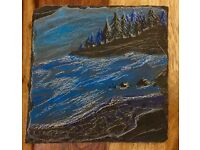 Hand painted slate coasters. £6.50 each or 4 for £25