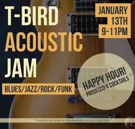 Acoustic jam session+Open mic at T-Bird this Sat,Jan 13th 8pm(no drum kit but bring your percussion)