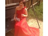 Red off the shoulder prom dress