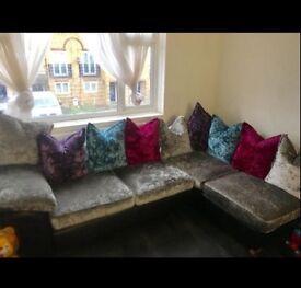 BARGAIN !! DFS crushed velvet corner sofa with foot stall