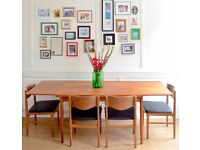 Vintage Danish extending teak table and 6 chairs. Delivery. Modern / mid century / retro.