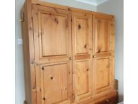 Solid Pine 2 Door 5 Drawer Triple Wardrobe Available from 1 Sept