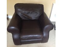 Single genuine leather armchair