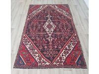 Red Ground Tabriz Rug With Blue Central Medallion (DELIVERY AVAILABLE)