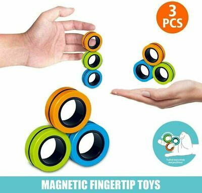 3pcs Magnetic Rings Anti-stress Finger Fidget Toys Rotating Magnetic Rings Kids