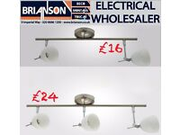 Modern Chrome 2 or 3 Way Ceiling Spotlight Bar Spot Fitting with Glass Shades