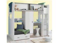 Children's loft bed with wardrobe and desk £100
