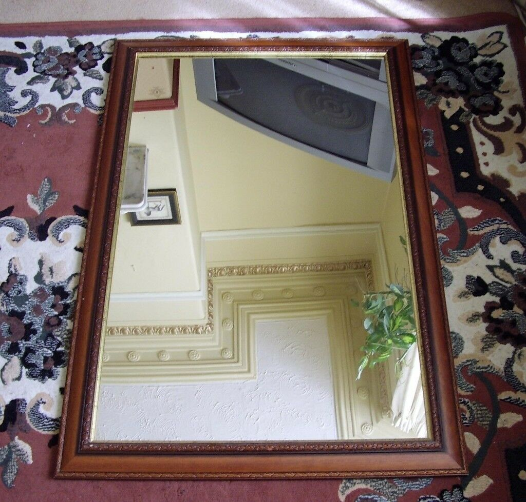 Very Large Mirror In Quality Wooden Frame It Is 3 Foot 4 Inches By 2 Nice Condition