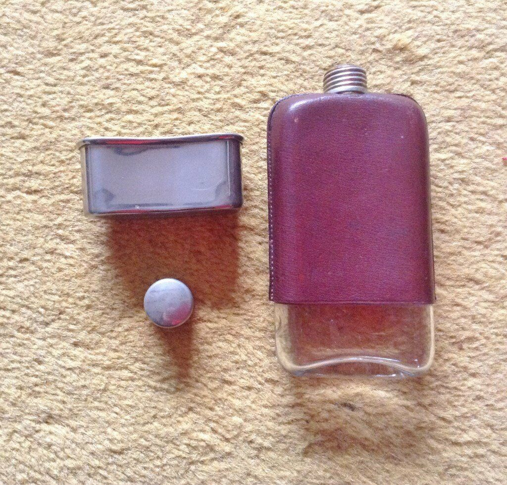 Very Nice Tactile Vintage Mid 20th Century Hip Flask.