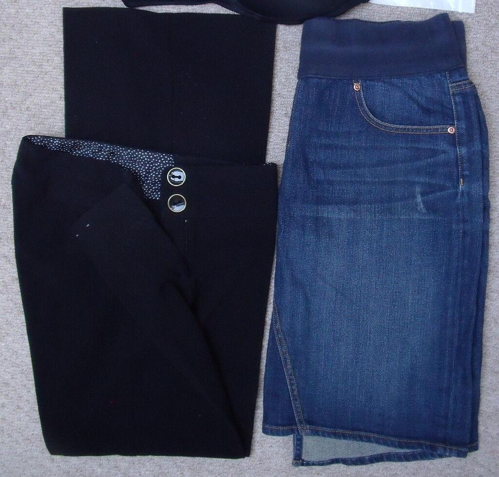 Maternity wear: Gap blue denim skirt size 6 & New Look black formal trousers size 8.£4 both/£2.50 ea