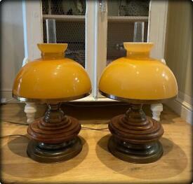 Pair of Beautiful Large Vintage Brass & Oak Electric Table Lamps With Glass Shades
