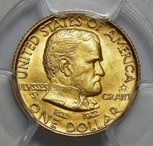1922 PCGS MS64 GRANT MEMORIAL W/STAR GOLD DOLLAR COMMEMORATIVE