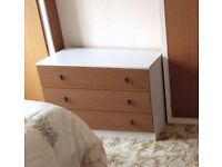Lovely White Top Wood Effect Front 3 Drawer Chest of Drawers