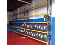 TYRE STORAGE RACK RACKING. HEAVY DUTY-STRONG. BRITISH MADE. 27ft LONG x 10ft5in HIGH (822cmx 315cm)