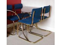 Retro Marcel Breuer style gold chrome and smoked glass dining table with 4 Cesca chairs