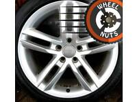"""18"""" Genuine Audi A4 and A6 S Line twin spoke alloys excel cond excel tyres."""