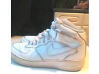Nike air force 1 hi tops, white leather, size