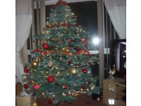 CHRISTMAS TREE - 6.5FT TALL WITH FROSTED EFFECT AND PINE CONES - £10!!!!!!