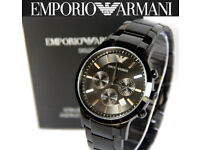 Brand New Armani watch with Documents Black, Original box, Certificate QUICK SALE