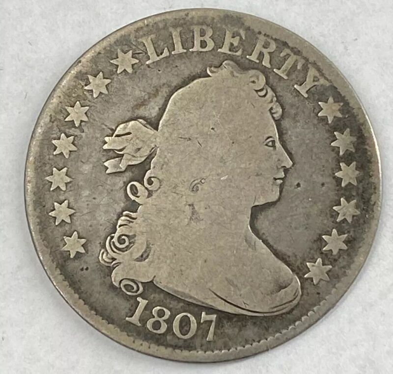 1807 US 25c Draped Bust Quarter Good Details