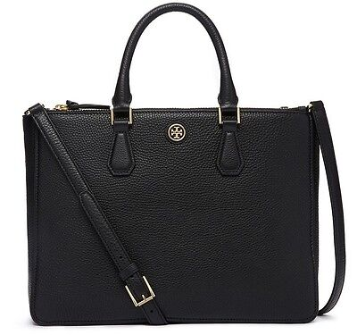TORY BURCH ROBINSON PEBBLED MULTI TOTE BLACK NWT $575 & GIFT BAG -32159769