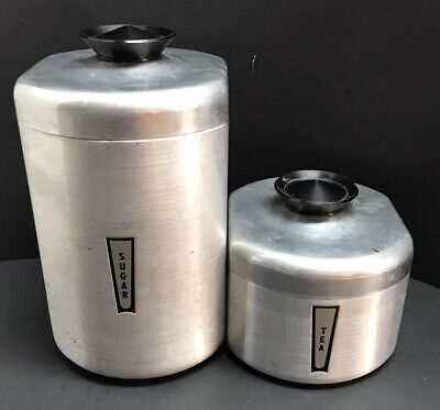 Vintage 50s Sugar & Tea Canisters -Aluminum Kitchen Silver Black Plastic Handles