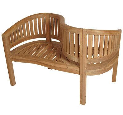 ECHT TEAK Bananenbank Gartenbank Parkbank Sitzbank 2-Sitzer 1,2m 120cm Holz COCO