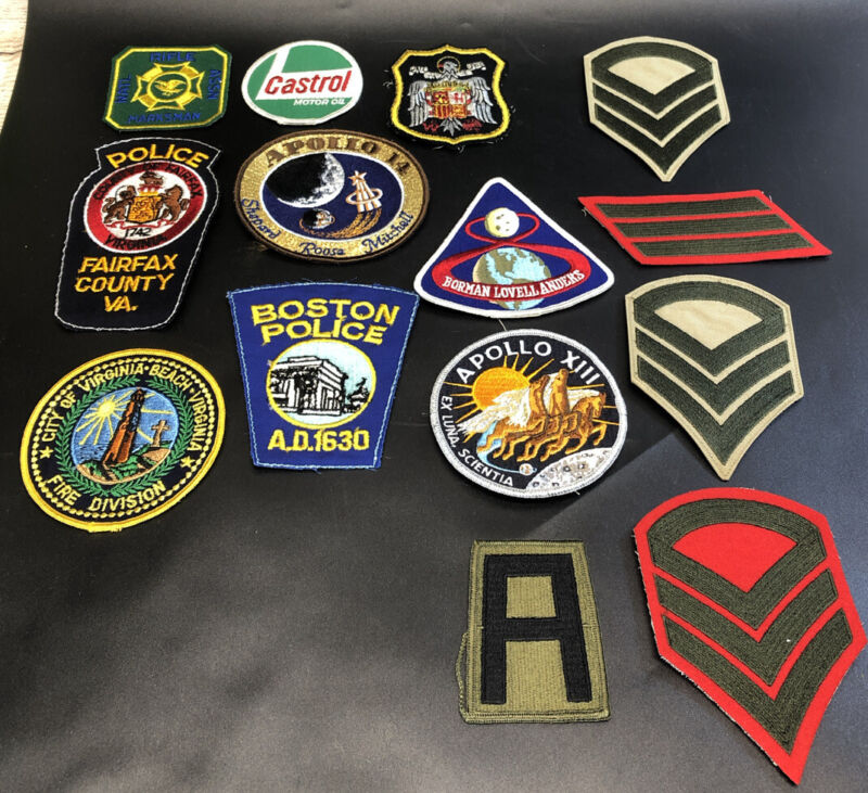 Mixed lot of 14 assorted vintage patches police military space misc.