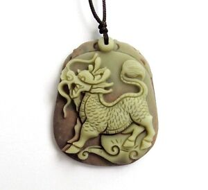 Happy-Lucky-Kylin-QI-LIN-Dragon-Two-Layer-Natural-Stone-Amulet-Pendant-Talisman