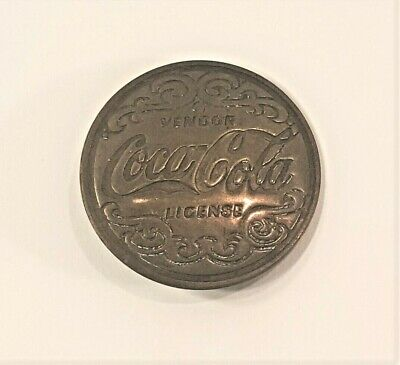 VINTAGE RARE COCA COLA BRASS VENDOR LICENSE BADGE-PIN-1 3/4 INCH FREE SHIPPING
