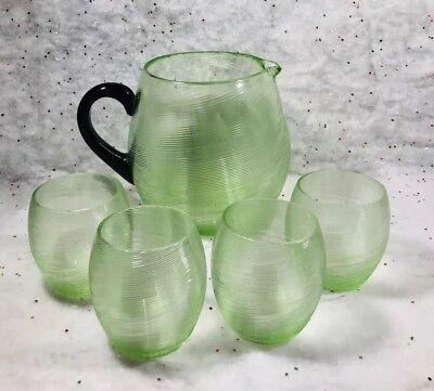 Vintage Green Vaseline Glass Juice Set Pitcher 4 cups Black Handle swirl pattern