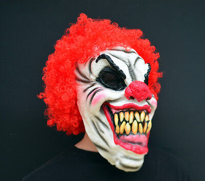 Killer Halloween Clown Mask Latex Scary CURLY CLOWN](Scary Killer Clowns)