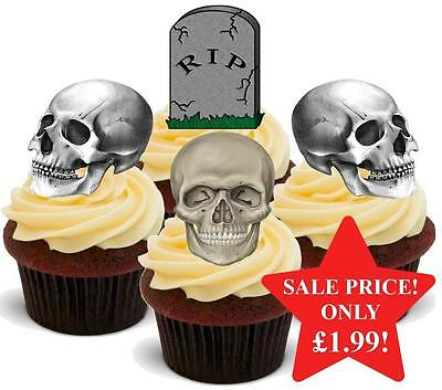 12 NOVELTY HALLOWEEN STAND UPS RIP Graveyard Skull Mix Edible Cake Toppers Dead](Graveyard Cake Halloween)