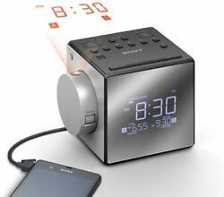 SONY ICF-C1PJ FM/AM Dual Alarm Clock Radio, Time Projection, Nature Sounds, USB