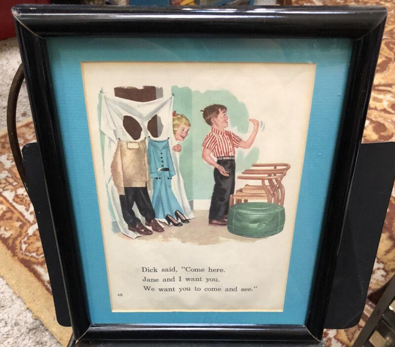 VINTAGE JANE, DICK, ART FROM BOOK READERS IN VINTAGE WOOD BLACK FRAME 8 X 10