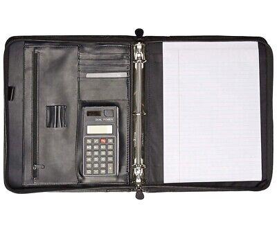 Buxton Black Genuine Leather Cal-q Zip-around Portfolio Calculator3 Ring Binder