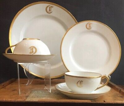Nippon & J&C Hand Painted China White w/ Gold Trim circa 1921 Monogrammed with C Painted Gold Monogram