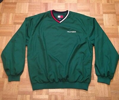 Vintage Tommy Hilfiger Green Nylon Pullover Sweatshirt Windbreaker Sz M 90's