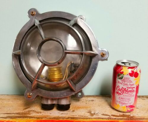 Ship Salvaged Vintage Round Aluminum Sconce Light or Post Light