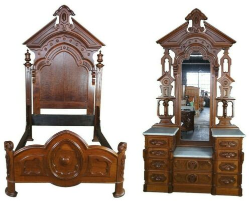 Monumental Antique Victorian Eastlake Walnut Burlwood Bedroom Set Dresser & Bed