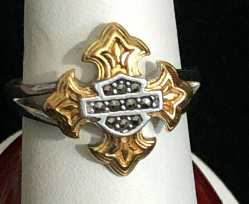 Harley Davidson Sterling Silver Marcasite Ring