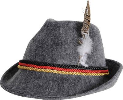 Morris German Party Supplies Oktoberfest Feather Alpine Grey Hat One Size.
