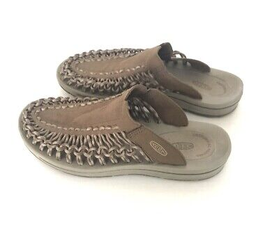 Keen Uneek Slide Sandals Mens Size 9 Brown Suede Leather Woven Straps