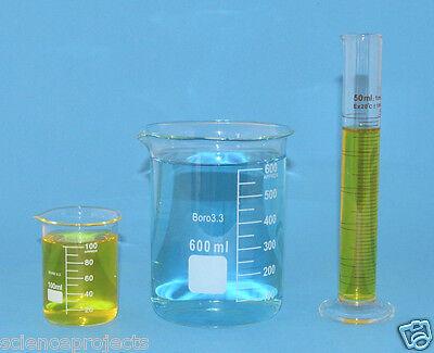 Beaker Set 600ml 100ml Cylinder 50ml Borosilicate Glass Griffin Lab New Beakers