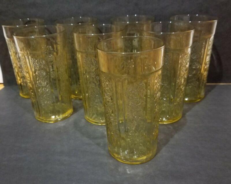 "8 Federal Glass Sharon Cabbage Rose Depression Amber Thin 12oz Tumbler 5 1/4"""
